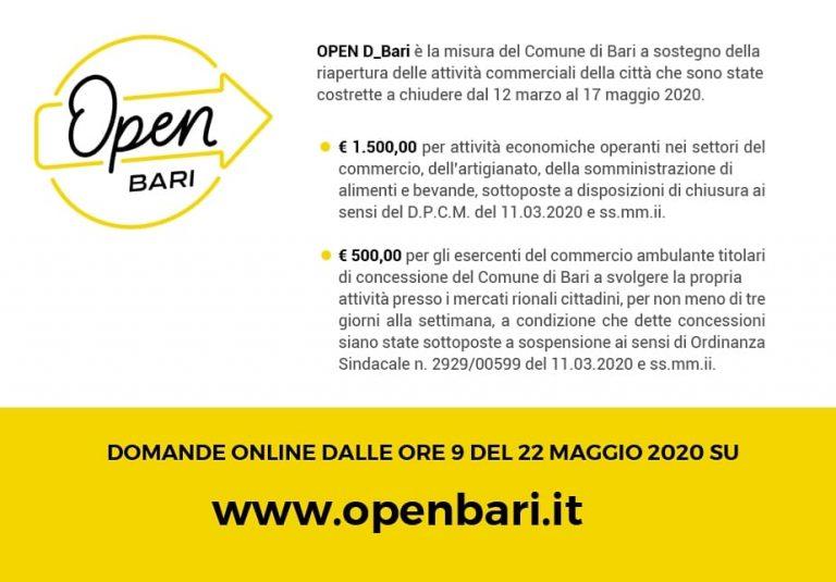 OPEN! È partita la prima misura di sostegno del Comune di Bari per le attività commerciali ! Partecipate!!